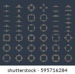 huge rosette wicker border... | Shutterstock .eps vector #595716284
