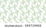 leaves seamless white and green ... | Shutterstock .eps vector #595719905