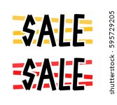 sale icons with colour lines... | Shutterstock .eps vector #595729205