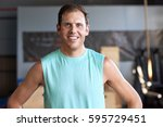 portrait of fit healthy man... | Shutterstock . vector #595729451