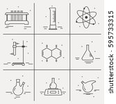 icons set of chemical... | Shutterstock .eps vector #595733315