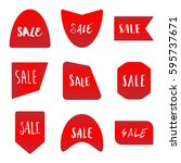 several style of red sale... | Shutterstock .eps vector #595737671