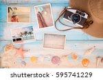 top view composition   summer...   Shutterstock . vector #595741229