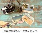 summer photo album of journey... | Shutterstock . vector #595741271