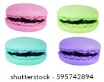 cake macaron or macaroon... | Shutterstock . vector #595742894