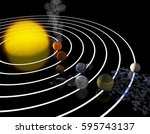trappist 1 planetary system.... | Shutterstock . vector #595743137