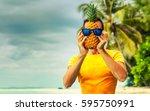 young man traveler is enjoying... | Shutterstock . vector #595750991