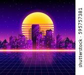 retro neon city background.... | Shutterstock .eps vector #595757381