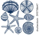 vector hand drawn maritime set  ... | Shutterstock .eps vector #595758647