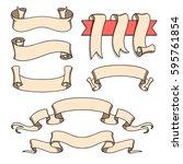 vector ribbon set. celebration... | Shutterstock .eps vector #595761854