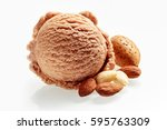 Stock photo gourmet almond italian ice cream with a single scoop viewed from the top for texture with fresh 595763309