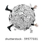 Businessman Buried in Sphere of Financial Invoices - stock photo