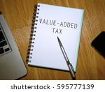 business concept. notebook with ... | Shutterstock . vector #595777139