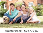 family sitting in garden... | Shutterstock . vector #59577916