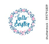 happy easter. decorative floral ... | Shutterstock .eps vector #595791809