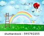 surreal landscape with ladder...   Shutterstock .eps vector #595792355
