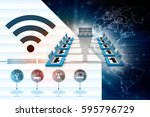 3d rendering computer network | Shutterstock . vector #595796729