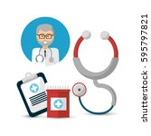 hospital doctor with his tools...   Shutterstock .eps vector #595797821