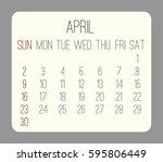 april 2017 vector calendar.... | Shutterstock .eps vector #595806449