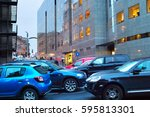 car parking in downtown of... | Shutterstock . vector #595813301