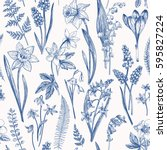 vintage seamless floral pattern.... | Shutterstock .eps vector #595827224