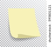 yellow sticky note isolated on... | Shutterstock .eps vector #595831121