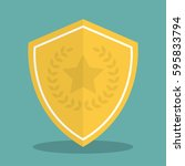 golden shield icon with shadow... | Shutterstock .eps vector #595833794