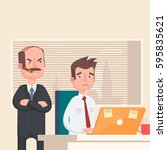 angry boss looks at the... | Shutterstock .eps vector #595835621