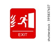 red emergency exit sign | Shutterstock .eps vector #595837637