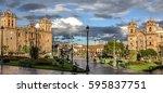 thundery atmosphere over plaza... | Shutterstock . vector #595837751