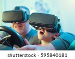 father and son in virtual... | Shutterstock . vector #595840181