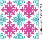 spanish tiles pattern ... | Shutterstock .eps vector #595845701