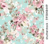 seamless watercolor pattern... | Shutterstock . vector #595848449