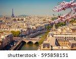 aerial view of paris at...   Shutterstock . vector #595858151
