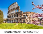 colosseum at spring in rome ... | Shutterstock . vector #595859717