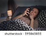 young caucasian girl laying in...   Shutterstock . vector #595865855