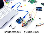 microcontrollers  chips ... | Shutterstock . vector #595866521