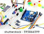 microcontrollers  chips ... | Shutterstock . vector #595866599