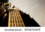 old guitar  and sun  | Shutterstock . vector #595870499