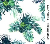 tropical background with jungle ... | Shutterstock .eps vector #595872995