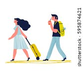 couple traveling together.... | Shutterstock .eps vector #595874621