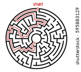 circle maze with solution.... | Shutterstock .eps vector #595883129