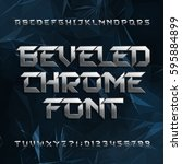 beveled metal alphabet font.... | Shutterstock .eps vector #595884899