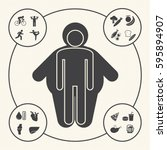 obesity related diseases and... | Shutterstock .eps vector #595894907