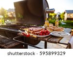 barbecue grill party. tasty... | Shutterstock . vector #595899329