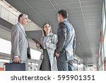 businesswoman communicating... | Shutterstock . vector #595901351