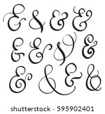 vector set vintage sign and... | Shutterstock .eps vector #595902401