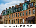 architectural details of row... | Shutterstock . vector #595910099