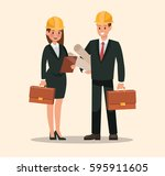 engineer characters design.... | Shutterstock .eps vector #595911605