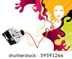 Designed psychedelic banner with retro camera. Vector illustration. - stock vector
